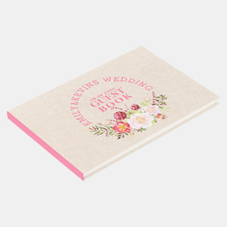 Floral Bouquet On Beige Linen Wedding GustBook Guest Book