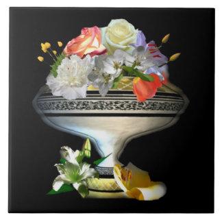 Floral Bouquet on Black Back Tile