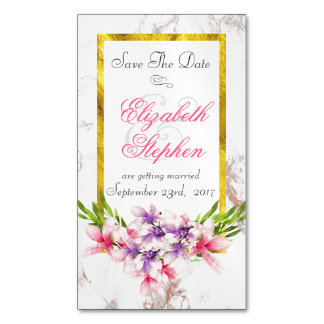 Floral Bouquet on White Marble Save the Date Magnetic Business Cards
