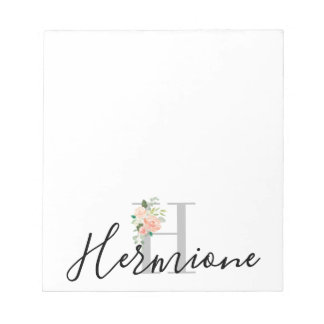 Floral Bouquet over Personalized Monogram and Name Notepad