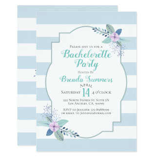 Floral Bouquet Pastel Stripes Bachelorette Invite