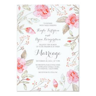 Floral Bouquet - Pink Elegant Watercolor Wedding Card