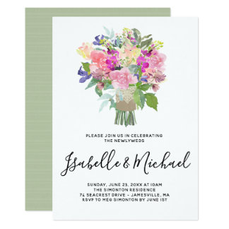 Floral Bouquet Post Wedding Brunch Invitations