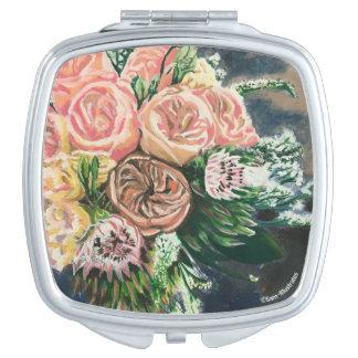 Floral Bouquet Square Compact Mirror