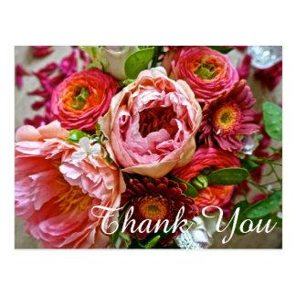 Floral bouquet Thank You, Postcard