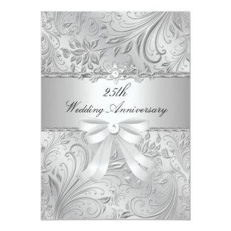 Floral & Bow 25th Wedding Anniversary Invite