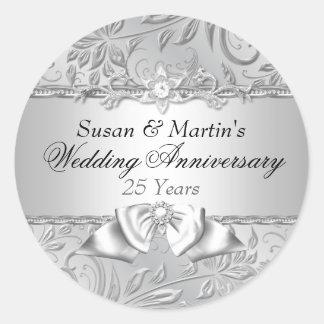 Floral & Bow 25th Wedding Anniversary Sticker