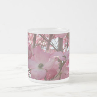 Floral Branches Frosted Glass Coffee Mug
