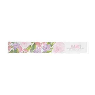 Floral Bridal Shower Address Return Label Wraparound Return Address Label