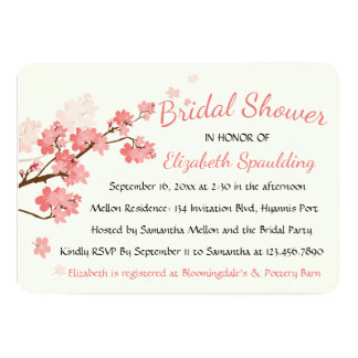 Floral Bridal Shower Cherry Blossoms Pink Flowers 13 Cm X 18 Cm Invitation Card