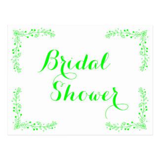 Floral Bridal Shower Leaf Lime Green Wedding Postcard