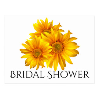 Floral Bridal Shower Sunflowers Yellow Flowers Postcard