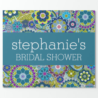 Floral Bridal Shower Teal and Green Retro Flowers Wrapping Paper