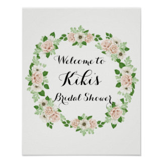 Floral bridal shower welcome sign