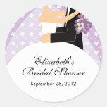 Floral Bride Groom Bridal Shower Sticker Purple