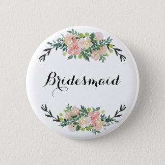 floral bridesmaid 6 cm round badge