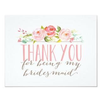 Floral Bridesmaid Thank You 11 Cm X 14 Cm Invitation Card