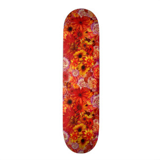 Floral Bright Rojo Bouquet Rich Red Hot Daisies 19.7 Cm Skateboard Deck