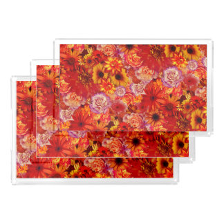 Floral Bright Rojo Bouquet Rich Red Hot Daisies Acrylic Tray