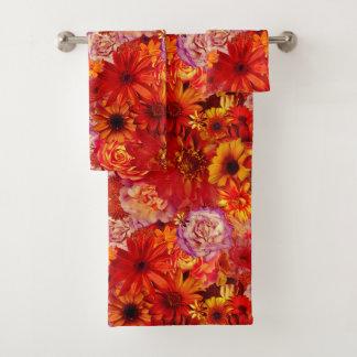 Floral Bright Rojo Bouquet Rich Red Hot Daisies Bath Towel Set