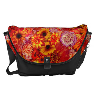 Floral Bright Rojo Bouquet Rich Red Hot Daisies Commuter Bag