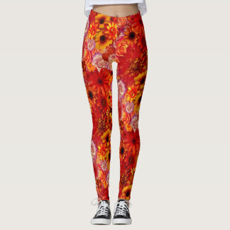 Floral Bright Rojo Bouquet Rich Red Hot Daisies Leggings