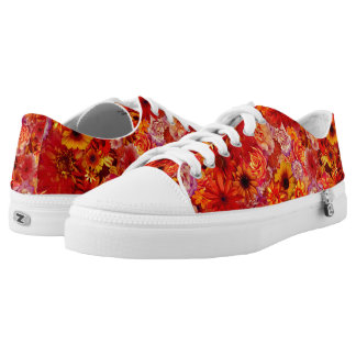 Floral Bright Rojo Bouquet Rich Red Hot Daisies Low Tops