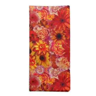 Floral Bright Rojo Bouquet Rich Red Hot Daisies Napkin