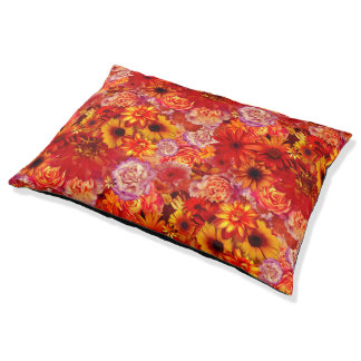 Floral Bright Rojo Bouquet Rich Red Hot Daisies Pet Bed