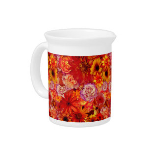 Floral Bright Rojo Bouquet Rich Red Hot Daisies Pitcher