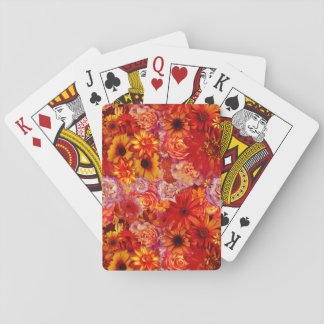 Floral Bright Rojo Bouquet Rich Red Hot Daisies Playing Cards