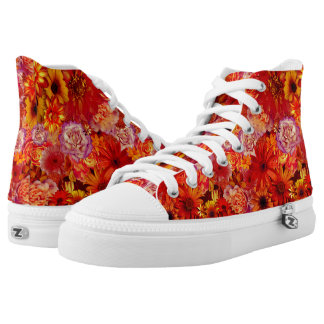 Floral Bright Rojo Bouquet Rich Red Hot Daisies Printed Shoes
