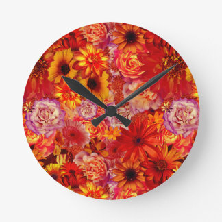 Floral Bright Rojo Bouquet Rich Red Hot Daisies Round Clock