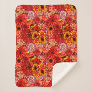 Floral Bright Rojo Bouquet Rich Red Hot Daisies Sherpa Blanket