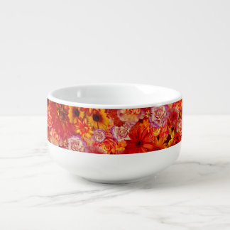 Floral Bright Rojo Bouquet Rich Red Hot Daisies Soup Mug