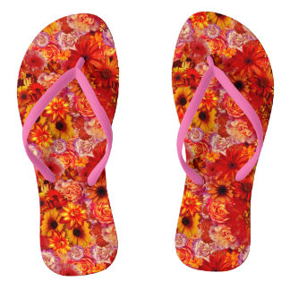 Floral Bright Rojo Bouquet Rich Red Hot Daisies Thongs