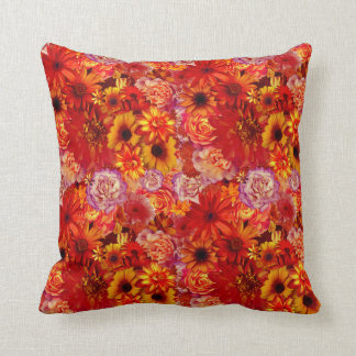 Floral Bright Rojo Bouquet Rich Red Hot Daisies Throw Pillow