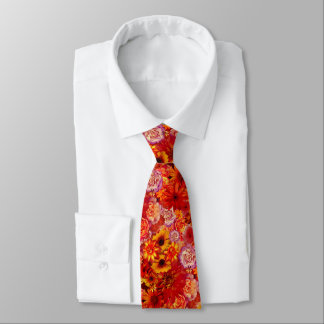 Floral Bright Rojo Bouquet Rich Red Hot Daisies Tie