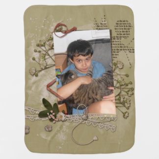 Floral Brown Paper Cupid Scrap Style Photo Frame Receiving Blanket