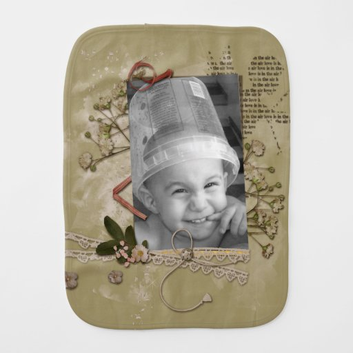 Floral Brown Paper Cupid Scrap Style Photo Frame Baby Burp Cloths
