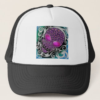 Floral Bubble Skull Trucker Hat
