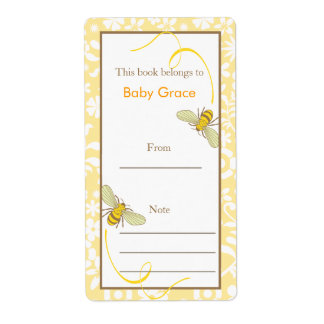 Floral Bumble Bee Bookplate Shipping Label