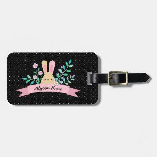Floral Bunny | Pink & Black | Custom Name Luggage Tag