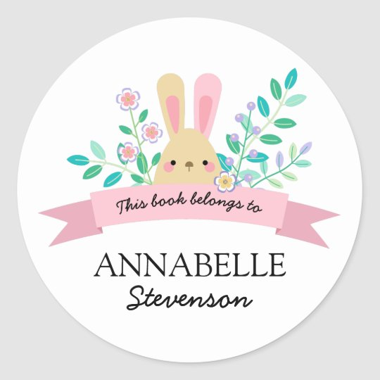 Floral Bunny | Yellow & Pink This Book Belongs To Round Sticker