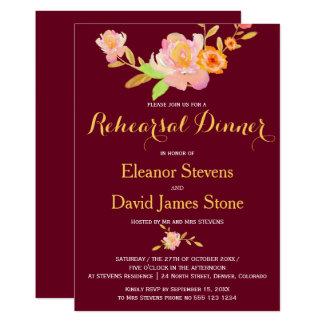 Floral burgundy gold fall wedding rehearsal dinner card