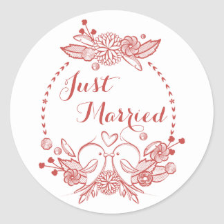 Floral Burgundy Just Married Red Lovebirds Wedding Classic Round Sticker