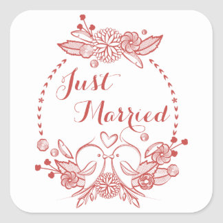 Floral Burgundy Just Married Red Lovebirds Wedding Square Sticker