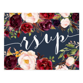 Floral Burgundy Navy Wedding RSVP Postcard