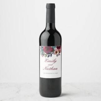Floral Burgundy Red Watercolor Wedding Wine Label