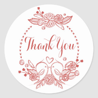 Floral Burgundy Thank You Red Lovebirds Wreath Classic Round Sticker